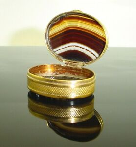 Antique Agate Oval Snuff Box Antique Gold Gilt Pill Box