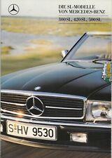 Mercedes R 107 - 300 SL, 420 SL, 500 SL  Prospekt Brochure   8 -1987- 34 Seiten