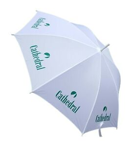 """CATHEDRAL White Green Printed Extending Sports Midi Golf Style Umbrella 31"""" Tall"""