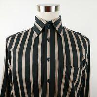 Paul Fredrick Mens Long Staple LS Button Down Beige Black Striped Dress Shirt L