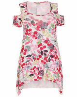 New Ladies Emily Pink White Floral Cold Shoulder Plus Size Tunic Top