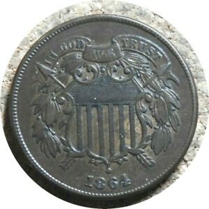 elf Two Cents   1864 Large Motto    Civil War  085