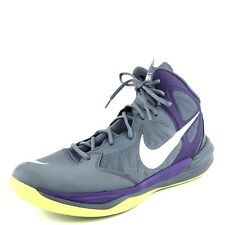 Nike Prime Hype DF Gray Purple Leather Athletic Basketball Shoes Mens Size 11 M*