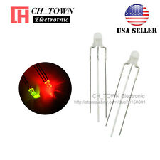 100pcs 3mm 3Pin Common Anode Water Clear Bi-Color Red Green Light Led Diodes USA