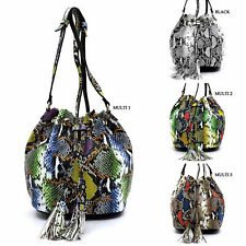 Python Snake Skin Drawstring Tassel Bucket Crossbody Bag Animal Printed Purse