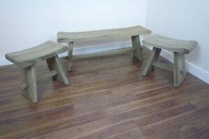 French Farmhouse Wooden Bench & Stool Set Handmade In Solid Wood