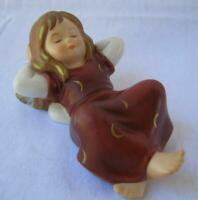 Bordeaux colored Laying Dreamer Angel Goebel Porcelain Germany