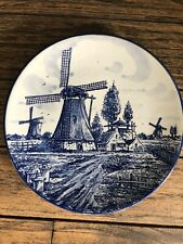 """Vintage Delft Blue Handpainted Holland Wall Plate Windmill House Approx 8.75"""""""