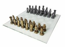Cats versus Dogs 3.5 Inch Tall Hand Painted Chess Set with Glass Board