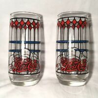 """Lot of 2 VTG PEPSI COLA Tiffany Style Drinking Glasses! 6"""" Tall Drinking Glass"""