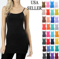 Women PLUS Basic Tank Top Solid Camisole 2X LONG Stretch Layering Spaghetti USA