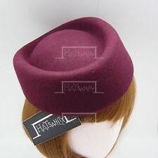 Wool Felt Pillbox Hat Women Fascinator | Burgundy | Round | VINTAGE x ELEGANT