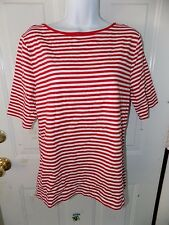 CHAPS Red & White Striped Criss Cross Back Short Sleeve Shirt Top Size XL NWOT