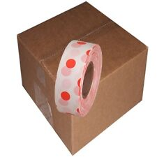 White / Orange 12 Rolls Flagging Polka Dot Tape 1 3/16 in x 300 ft Non-Adhesive