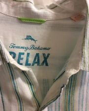 Tommy Bahama Relax  Shirt Sm XL/TG Teal Stripe Button Long Sleeve Linen Cruise