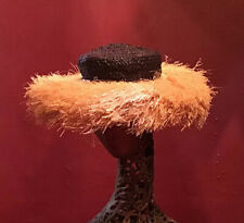 Vintage 40's 50's Raffia Straw Hat Beach Made In Italy