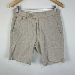 MNG Mango Mens Shorts 28 Beige Linen Blend Zip Closure Bermuda Pockets