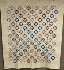 Early Pa c 1830-50s Crosses Quilt Antique Chintz Brilliant Blue Browns