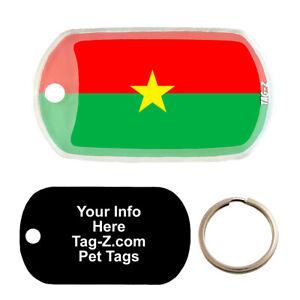 BURKINA FASO FLAG - CUSTOMIZED - PET TAG - MILITARY Shape - Tag-Z Dog Tags