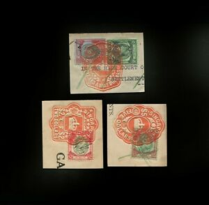 Malaya/Straits Settlements KGVI 50c, $1, $2 & $5, fiscally used in Singapore