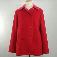 J Jill Size S Red Double Breasted Military Pea Coat Trench Overcoat Wool Blend