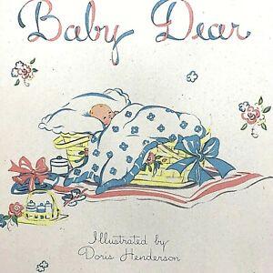 Vtg 1940s Unused Gibson Blue Baby Book Birth to 7 Years Doris Henderson Illus.