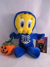 "1999 Plush Bean Bag Warner Bros Tweety In a Skeleton Halloween Costume 8"" NWT"