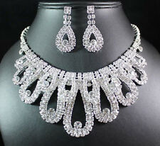 ELEGANT CLEAR AUSTRIAN RHINESTONE CRYSTAL NECKLACE EARRINGS SET BRIDAL N1602