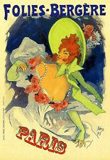 Art Poster Colorful  Folies Bergere Paris    Print