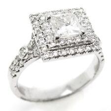 PRINCESS CUT DOUBLE HALO SPLIT SHANK DIAMOND ENGAGEMENT RING 14K WHITE GOLD AP5