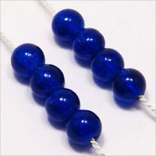 Lot de 50 Perles Craquelées en Verre 6mm Bleu Foncé