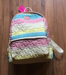 BETSEY JOHNSON SPRING RAINBOW QUILTED BACKPACK BOOKBAG NWT