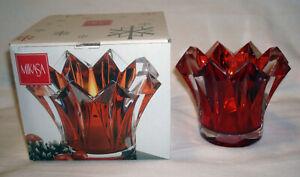 Mikasa Skyline Red Glass Bohemia Crystal Czech Republic Votive Candle Holder Box