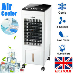 8 Litre Portable Air Cooler Humidifier Evaporative Cool Fan Swing 3 Speed 60W UK
