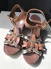 Moda In Pelle Leather Designer High Heel Wedge Sandal Shoe Platform Size 6 39