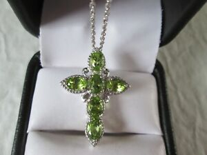 Peridot Cross Pendant w/ 20 inch Chain Platinum over Sterling Silver TGW 3.65 ct
