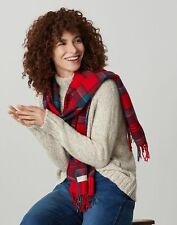 Joules Womens Bracken Check Woven Scarf - Red Navy Check - One Size