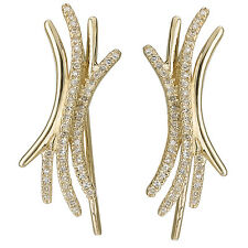 NEW 14K YELLOW GOLD DIAMOND X CURVE DESIGN HOOK EARLOBE HUGGER EARRINGS