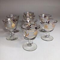 "Vintage Libbey Gold Leaf Frosted Cordial Glass 3 3/4"" Drink Glasses Set Of 8"