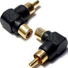 3x RCA maschio a femmina Angolato Destra 90 gradi Adattatori-Phono Audio Presa