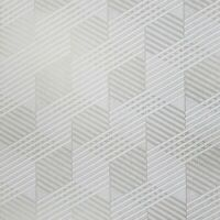 Wallpaper white gold metallic Textured square geometric cube illusion lines 3D