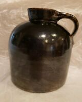 Stoneware Whiskey Brown Jug Moonshine Beehive Clay Pottery Crock with Handle