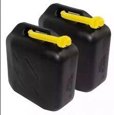 2x 20L Black Plastic Jerry Cans Diesel Petrol Fuel Water + 2 flexible Spouts UK