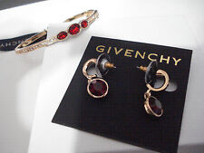 GIVENCHY Gold Tone Bangle Red Crystal Rhinestone & Drop Earrings Set NWT