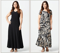 Attitudes by Renee Regular Como Jersey Set of 2 Maxi Dresses-Black/Safari-Large