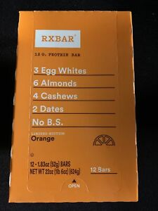 RX Bar ORANGE 12 Bars Per Pack Exp 1/25/2021 All Natural Protein Limited Edition