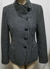 Max Mara Made in Italy Wool cashmere Black White Blazer Jacket Sz 8 US 38 EU