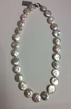 """REAL STERLING SILVER Women's Freshwater Pearl Flat Coin Design 19"""" NECKLACE 42g"""