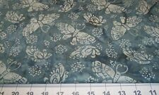 Fabric Fat Quarter - Batik - Butterfly in Slate Teal Pewter Grey from Clothworks