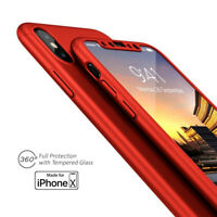 Red 360 Full Protective Case Hard PC Cover w/ Tempered Glass Screen For iPhone X
